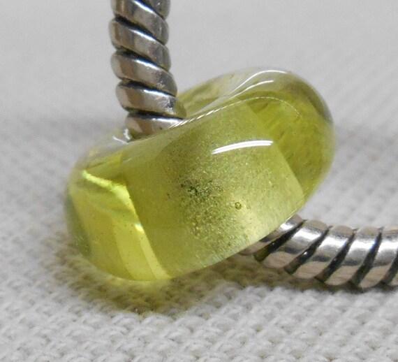 Handmade Glass Lampwork Bead Large Hole European Charm Bead Transparent Green Apple
