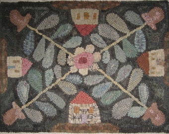 Primitive Folk Art Rug Hooking Pattern~The Neighborhood