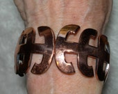 Vintage Renoir Signed COPPER HINGED BRACELET - Tribal Style Bangle Style - Fits All