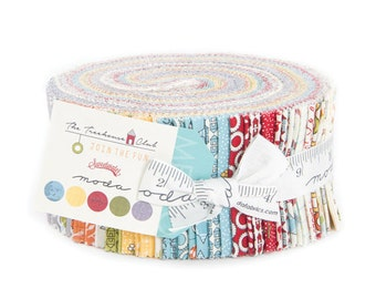 Moda Cotton Fabric Tree house Jelly Roll Quilt Fabric Blue Fabric Red Fabric Green Fabric Jelly Roll