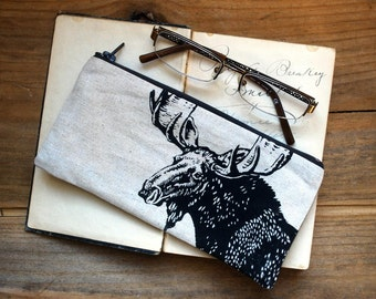 Back to School Pencil Pouch, Woodland Moose Rectangular Zipper Pouch