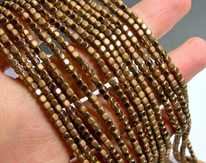 Hematite Bronze - 3mm cube beads -  full strand - 140 beads - AA quality - matte and polished  - PHG245