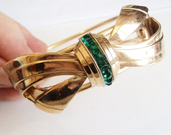 Gold and Green Hinged Bangle... c.1930s-50s Bow... Channel Set Square Diamantes