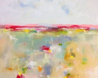 Large Colorful Abstract Landscape Original Painting -Summer Love Landscape 36 x 48