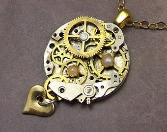 Watch Gear Necklace Stainless Steel Watch Plate Brass Gears