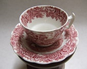 Red Transferware Cup and Saucer - Booths British Scenery - England - A 8024 - Early 1900s - Tea Cup - Antique Cup and Saucer