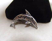 Vintage Sterling Silver Dolphin Pin - Dolphin Brooch - Artist Signed Jezlaine - Jumping Dolphin - Fish - Nautical - Cut Work Sterling - 925