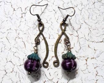 Purple Pumpkin Boho Earrings (3018)