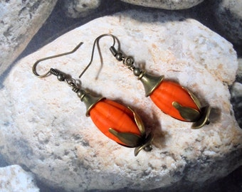 Orange Flower Bud Earrings (2369)