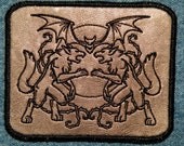 Werewolf Crest Iron on Patch on Cowhide Leather