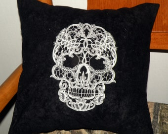 Lacey Skull Embroidered Accent Pillow Cover