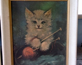 Kitten prints with yarn and knitting needles vintage pair, framed, 8 x 10 Mid Century sewing kittens naughty kittens kittens and yarn
