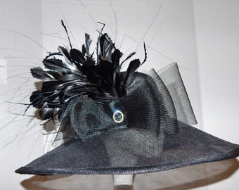 Black Kentucky Derby Lampshade style, big Brim Hat with feathers, rhinestone, and crinoline