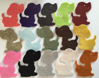 Wool Felt Dog Die Cuts 15 Count - Random Colored 3346 - Felt for Kids - Felt Animals - Feltboard