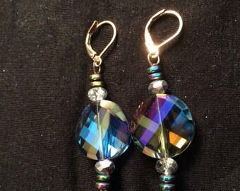 Crystal beaded dangling earrings