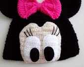 Minnie Mouse Crochet Hat-for halloween-Mini Mouse Hat-Crochet Baby Hat-for Baby or Toddler-Girl Hat-Pink Bow-Your choice of color