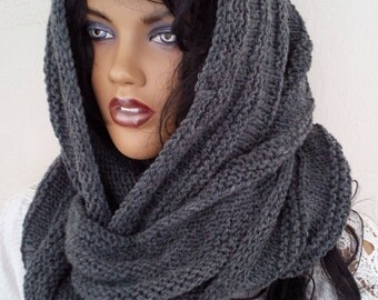 Dark gray Versatile bulky hood style cowl