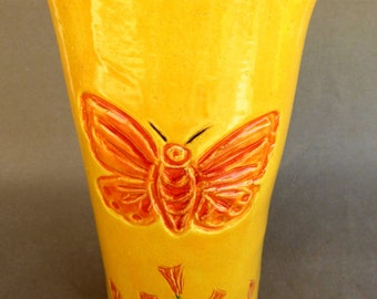 Yellow Butterfly Vase, handmade pottery vessel, impressed orange  butterfly and flowers, ceramic home decor, wedding gift,mother's day gift