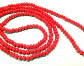 """Orange Coral Seed Beads 4mm Round 1 Full 34"""" Strand Over 200 Unique Beads"""