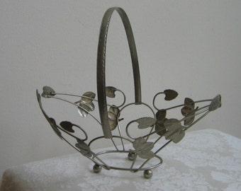 Vintage Silver Metal Basket With Handle Leaves Footed