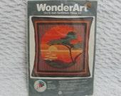 Vintage Wonderart 12 X 12 SwifStitch Sunset Pillow Needlecraft Kit
