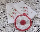 Vintage Hand Embroidered Kitchen Tea Towel Pair and Hand Crocheted Hot Pad