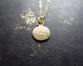 Lullaby - Tiny Gold Moon Necklace. Minimal Necklace. Moon Phrase Jewelry. New Mom Gift. OOAK Jewelry. Bridesmaid Necklace. Wedding Jewelry