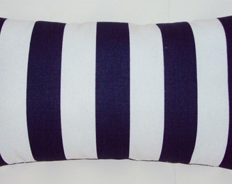 Navy Blue and White Stripe Decorative Lumbar Pillow Cover - Available In Several Sizes -BESTSELLER