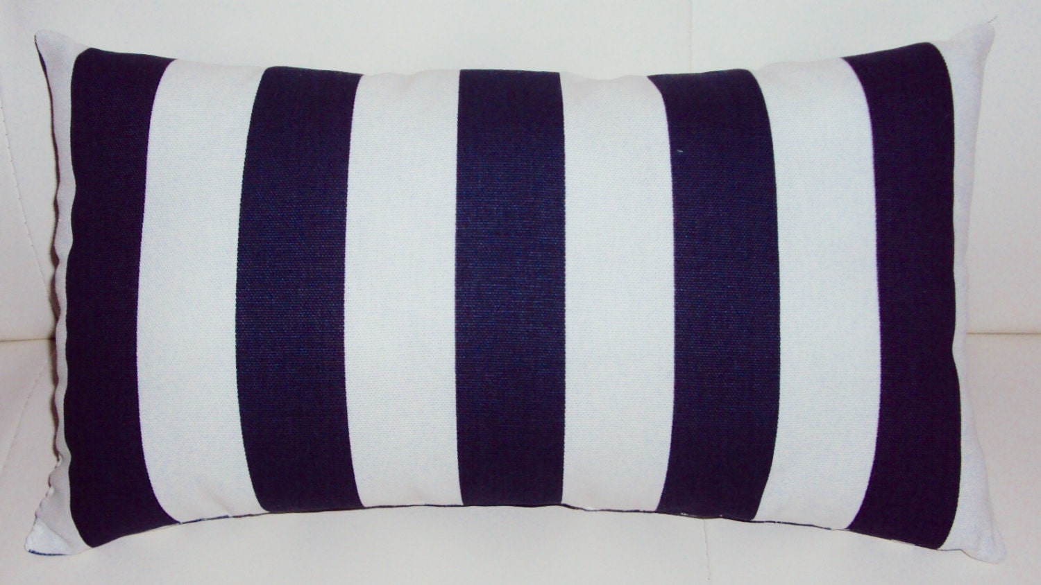 Navy Blue and White Stripe Decorative Lumbar Pillow Cover