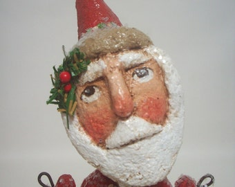 Red Santa Primitive Paper Mache Folk Art