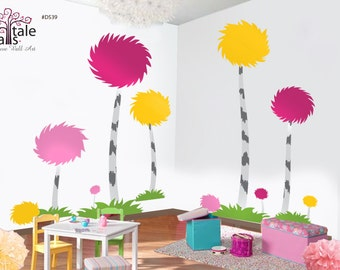 Pom Pom Trees Wall decal for nursery. Colorful Pompom trees wall decal for a playroom, baby nursery.A person is a person, why fit in d539