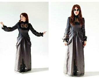Black Gothic Gown- Bustle, Steampunk, Victorian style, Alternative Wedding Dress, Cosplay Dress, Renaissance Goth