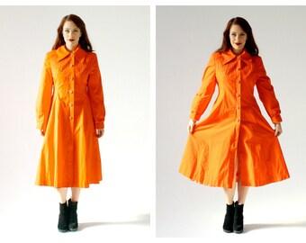 60s Mod Orange Pointed Collar Coat- M, Bell Skirt, Button Up Lightweight Jacket, Trenchcoat