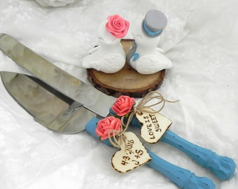 Rustic Love Birds Wedding Cake Topper, Server and Knife Set, Tree Slice Base, White, Coral, Turquoise and Grey, Bride and Groom