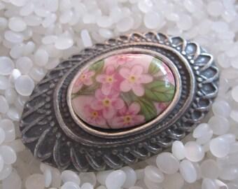 porcelain and pewter tin vintage brooch, pink flowers