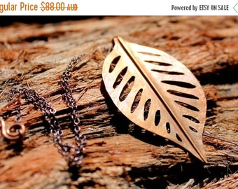 ON SALE Copper Leaf Necklace. Tropical Leafy Love.