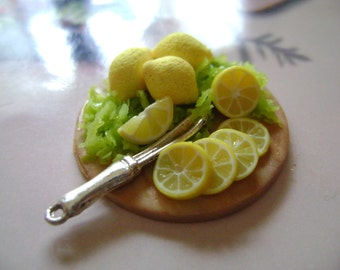 Dollshouse Food , miniatures dollshouse , tray lemon