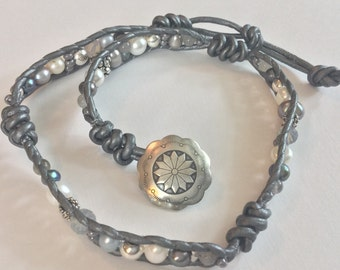 Gray Leather Freshwater Pearl Wrap Double Bracelet with Sterling Silver & Swarovski Beads