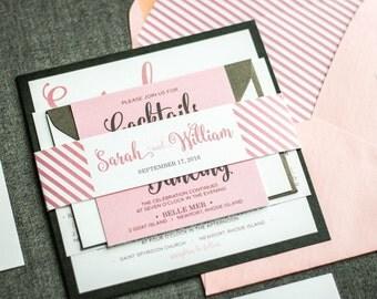 "Blush and Black Invitations, Pink and Grey Bat Mitzvah Invitaitons, Blush Pink Modern Wedding Invitation - ""Calligraphy Chic"" - FP-1L-v2"