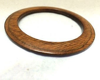 Wooden Bangle Handmade Jewelry Thin Flat Bracelet Brown Cherry Wood Modernist