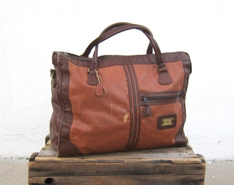 70s LAND Large Tote Leather Cognac Strip Travel Tote Handbag Briefcase Overnight Bag Carryon