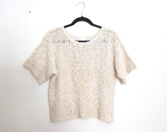 Cropped Sweater Sheer Short Sleeve Oversized Cream Knit Ladies Size M
