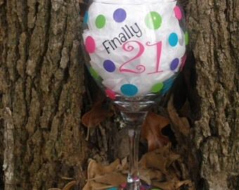 Personalized Birthday Wine Glass 21st Birthday