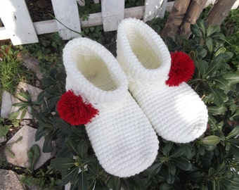 Powder Puff Crochet Home Slippers, Women Slippers, House Shoes, Indoor Slippers, Gifts for Her