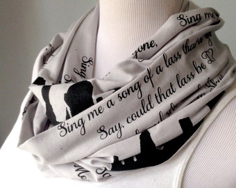 Sing Me a Song Scarf, Gift for Book Lover, Bookish Present