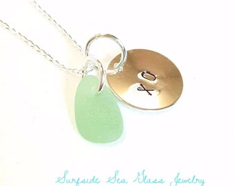 XO Necklace, Personalized Jewelry, Sea Foam Sea Glass Necklace, Beach Glass Jewelry, Seaglass Jewelry, Personalized Pendant, Choose Your Own