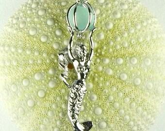 Mermaid Jewelry, GENUINE Sea Glass Necklace,Mermaid Necklace, Mermaid Locket, Seaglass Jewelry, Beach Necklace, Beach Jewelry, Blue Seaglass