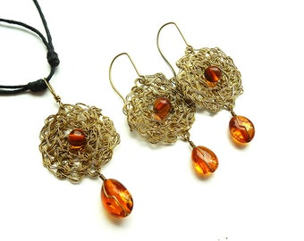 Crochet wire Baltic amber earrings and pendant, necklace with sliding knotts, Baltic amber earrings, wire wrap earing, wire wrap pendant