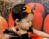 Halloween Headband, Baby Headband, Orange & Black Shabby Chic Headband, Fall Headband, Baby Girl Headband, Infant Headband, Black Headbands