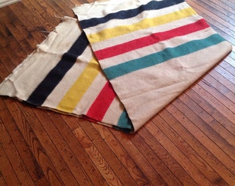 Vintage Golden Dawn Hudson Bay 100% Wool Blanket 70 x 90